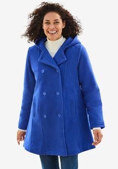 Double-Breasted Hooded Fleece Peacoat,