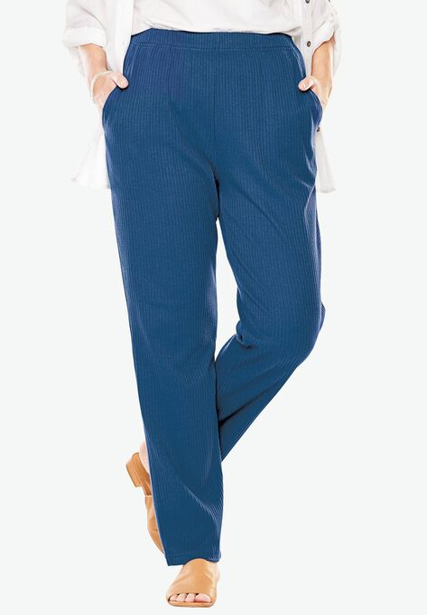55cabc59e32 7-Day Knit Ribbed Straight Leg Pant