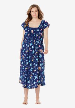 Whisperweight Gauze Nightgown , EVENING BLUE FLORAL