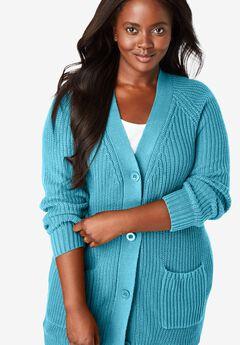 Long-Sleeve Shaker Cardigan Sweater, SOFT AQUA