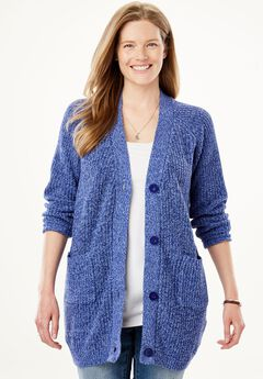 Long sleeve Button-Front Cardigan, ULTRA BLUE FRENCH BLUE