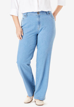 Wide Leg Cotton Jean, LIGHT STONEWASH