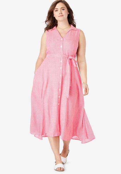 84cdd0df6 Striped Linen Sleeveless Shirtdress| Plus Size Casual Dresses ...
