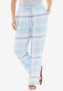 Linen-Blend Drawstring Pants, BLUE PLAID, hi-res