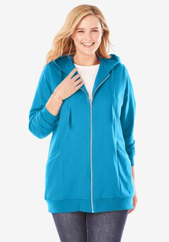 Zip Front Tunic Hoodie, PARADISE BLUE
