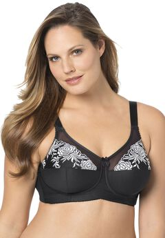 Wireless Full Coverage Embroidered Bra by Elila®,