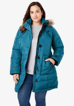 Hooded Down Heathered Puffer Coat, BLUE TEAL HEATHER