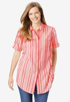 Short Sleeve Button Down Seersucker Shirt, ROSE PINK POP STRIPE