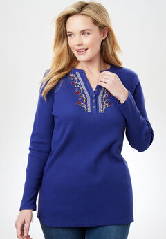 Embroidered Thermal Knit V-Neck Henley, ULTRA BLUE