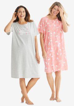 2-Pack Short-Sleeve Sleepshirt , HEATHER GREY GOOD MORNING