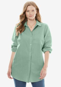 Classic Collared Linen Shirt, DUSTY JADE, hi-res