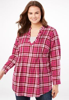 Layered look plaid tunic,