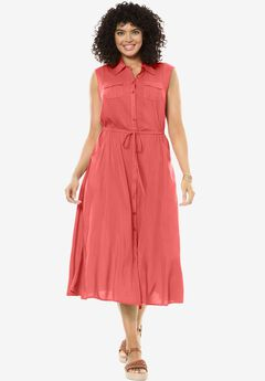 Sleeveless button-front utility dress,