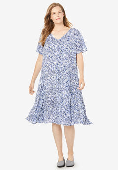Short Crinkle Dress, NAVY BATIK