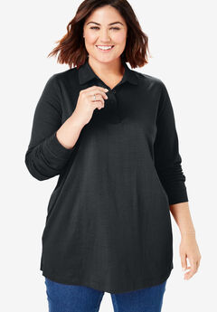 Perfect Long Sleeve Polo Tunic, BLACK
