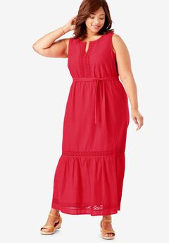 Crochet Trim Tiered Sleeveless Maxi Dress,