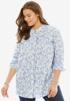 Perfect Pintuck Shirt, FRENCH BLUE VECTOR FLORAL