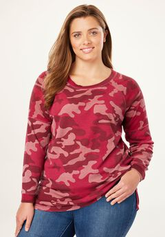 Raglan Washed Thermal Sweatshirt, RICH BURGUNDY TONAL CAMO