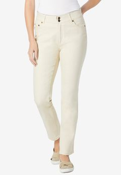 Straight Leg Tummy Tamer Jean, NATURAL KHAKI