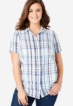 Short Sleeve Button Down Perfect Shirt,