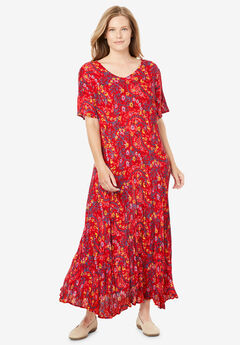 Crinkle Dress, VIVID RED LEAF PAISLEY