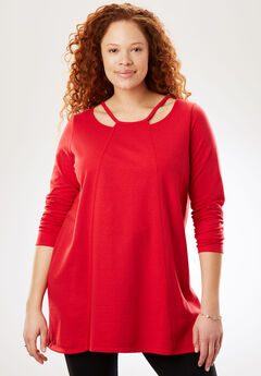 Cutout Neckline Tunic, FRESH RED