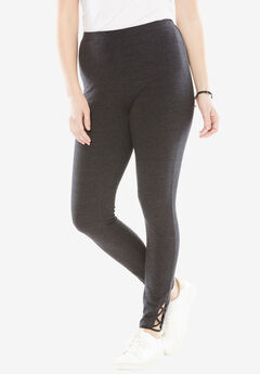Stretch Cotton Lace-Up Legging, HEATHER CHARCOAL, hi-res