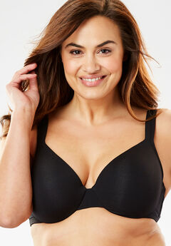 Cotton Underwire T-Shirt Bra by Comfort Choice®, BLACK