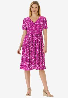 Short empire dress in crinkle rayon crepe, RASPBERRY LEAVES
