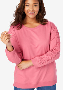 Ruched-Sleeve French Terry Sweatshirt,