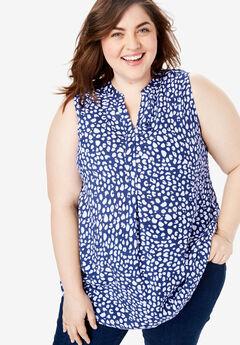 Sleeveless Tab-Front Shirt, ULTRA BLUE ABSTRACT DOT