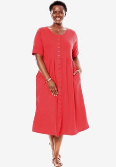 Empire knit dress by Only Necessities®, CORAL RED, hi-res