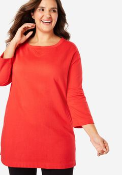 Pocketed Tunic Sweatshirt with Rolled Sleeves,