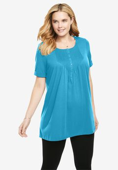 Short-Sleeve Pintucked Henley Tunic, PARADISE BLUE