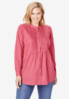 Perfect Pintucked Shirt, TEA ROSE