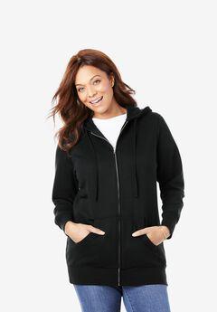 Hooded Better Fleece sweatshirt jacket, BLACK, hi-res