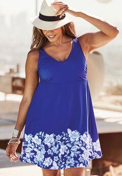 Floral Border Swim Dress, DEEP BLUE FLORAL