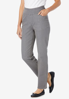 Pull-On Straight Leg Denim, GREY DENIM