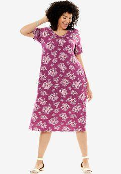Polka dot shift dress, SOFT MAGENTA ABSTRACT FLORAL, hi-res