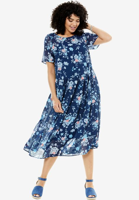 Print Georgette Dress  Plus Size Dresses   Woman Within