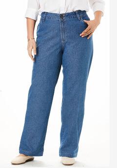 Wide Leg Cotton Jean, MEDIUM STONEWASH, hi-res