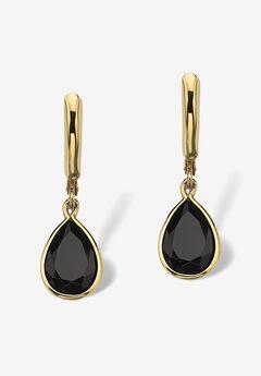 Pear-Shaped Black Onyx Drop Earrings,
