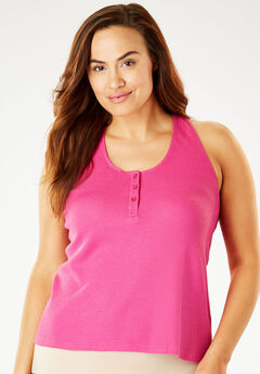 Ribbed Scoop Neck Camisole by Comfort Choice®, BERRY, hi-res