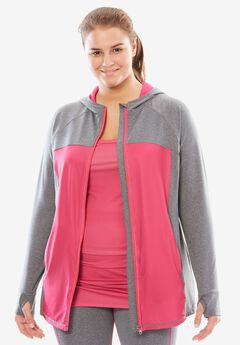 Hooded Zip-Front Jacket, GREY MELANGE PASSION PINK, hi-res