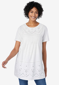 Embroidered Eyelet Pintucked Tunic, WHITE