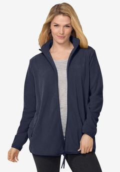 Zip-Front Microfleece Jacket, NAVY