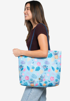 Disney Stitch Travel Rope Tote Bag Carry-On Blue All-Over Print,
