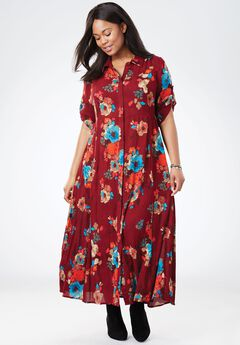 Crinkle Shirt Dress,