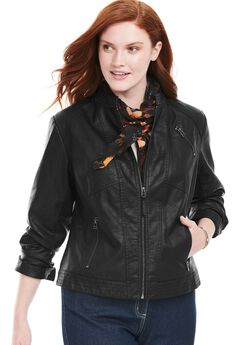 Zip-Front Faux Leather Jacket,