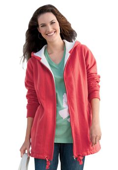 Drawstring-Hem Hooded Fleece Jacket,